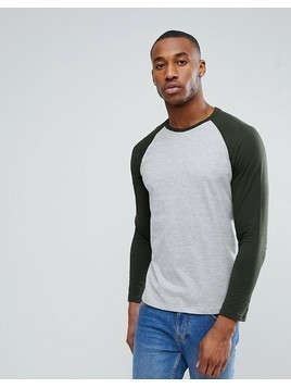 Burton Menswear Long Sleeve Baseball Tee In Grey And Green - Green