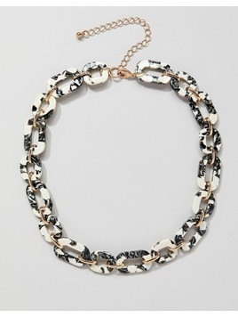 ASOS DESIGN necklace in resin with chain in gold - Multi