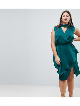 ASOS CURVE Slinky Wrap Skirt Midi Dress with Neck Choker - Green