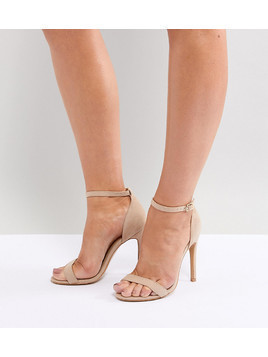 Truffle Collection Wide Fit Barely There Heeled Sandals - Beige
