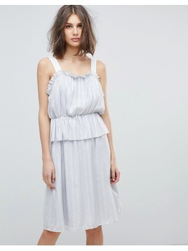 Lost Ink Ruffle Strappy Dress - Grey