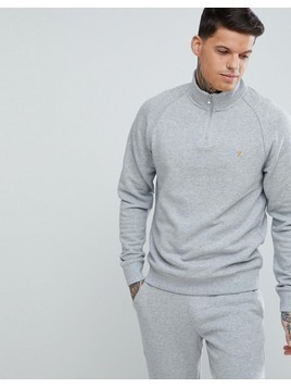 Farah Jim Slim Fit Quarter Zip Neck Sweat in Grey - Grey