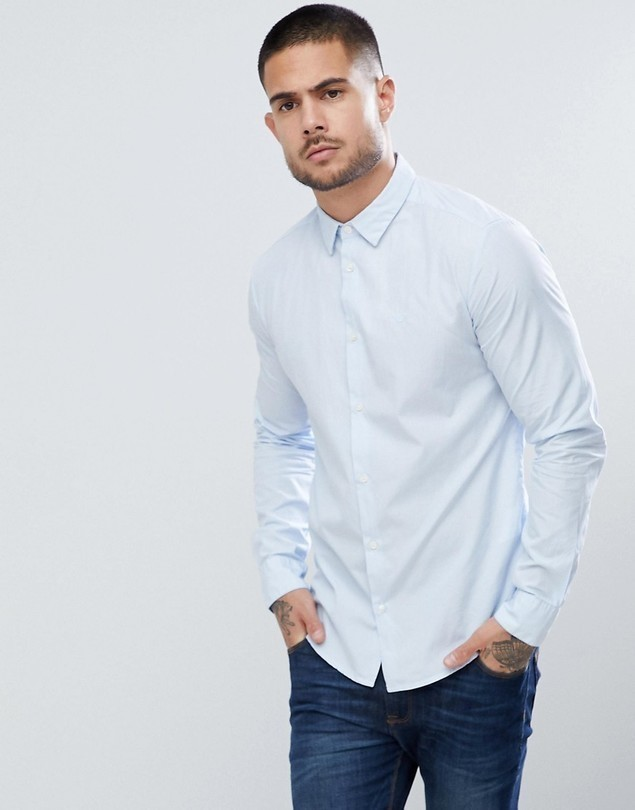 Emporio Armani Slim Fit Textured Shirt In Light Blue - Blue