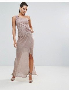 Lipsy Ruched One Shoulder Maxi Dress - Pink