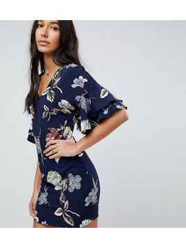 Parisian Tall V Neck Floral Shift Dress With Flare Sleeve - Navy