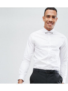 Noose&Monkey TALL Skinny Smart Shirt With Collar - White