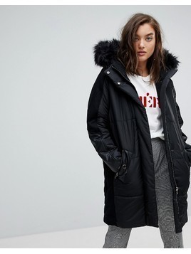 River Island Faux Fur Hood Oversized Padded Coat - Black