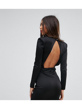 Missguided Open Back Mini Dress With Shoulder Pads - Black