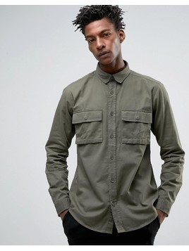 Only & Sons Shirt With Military Pockets In Regular Fit - Green
