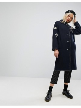 ASOS Coat with Military Badges - Navy