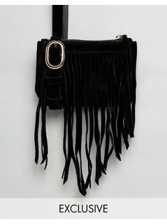 Reclaimed Vintage Inspired Fringe Bumbag - Black