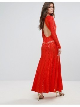 Boohoo Lace Open Back Maxi Dress - Red