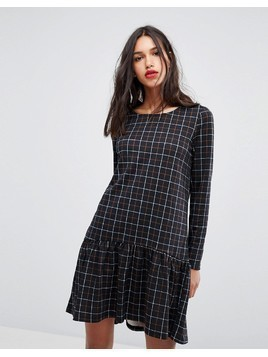 Vero Moda Check Print Frill Hem Dress - Multi