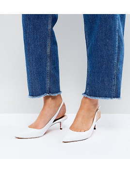 Dune Wide Fit Slingback Leather Kitten Heel - White