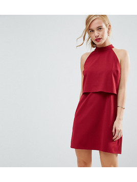 ASOS PETITE Double Layer Dress with High Neck - Red