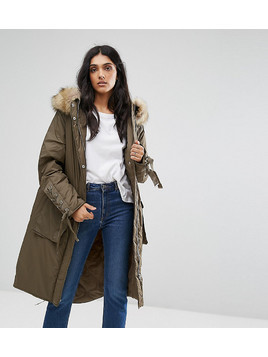 ASOS TALL Parka With Lace up Dip Hem - Green