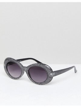 AJ Morgan Cat Eye Sunglasses In Black Glitter - Black