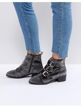 New Look Stud Western Velvet Pointed Ankle Boot - Grey