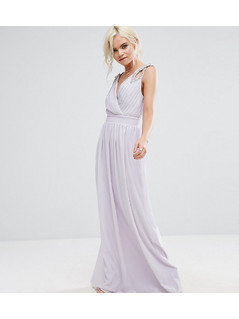 TFNC Petite Wedding Wrap Front Maxi Dress With Embellishment - Purple