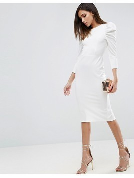 ASOS Midi Dress With Puff Sleeve and Cut Out Back - White