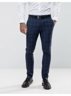 Harry Brown Skinny Fit Blue Grid Suit Trousers - Blue