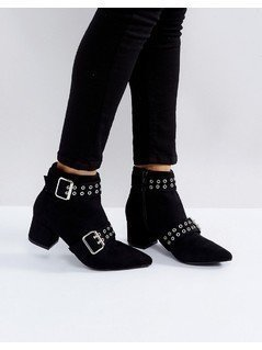 Truffle Collection Point Toe Double Buckle Mid Heel BootS - Black