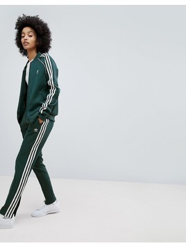 adidas Originals adicolor Three Stripe Track Pants In Green - Green