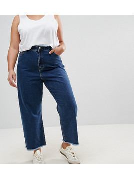 ASOS CURVE Wide Leg Jeans With Raw Waistband in Blue - Blue