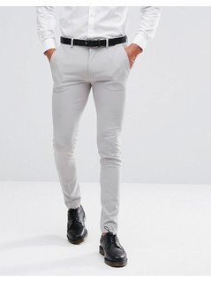 ASOS Super Skinny Smart Trousers In Ice Grey - Grey