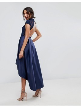 Chi Chi London High Low Midi Prom Dress With Open Back - Navy