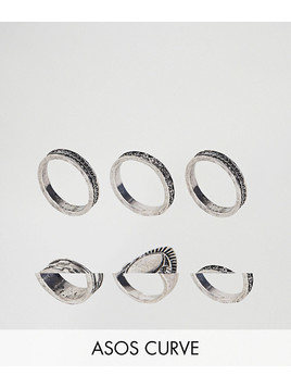 ASOS CURVE Exclusive Pack of 6 Engraved Ring Pack - Silver