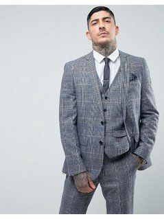 Harry Brown Slim Fit Tweed Checked Suit Jacket - Blue