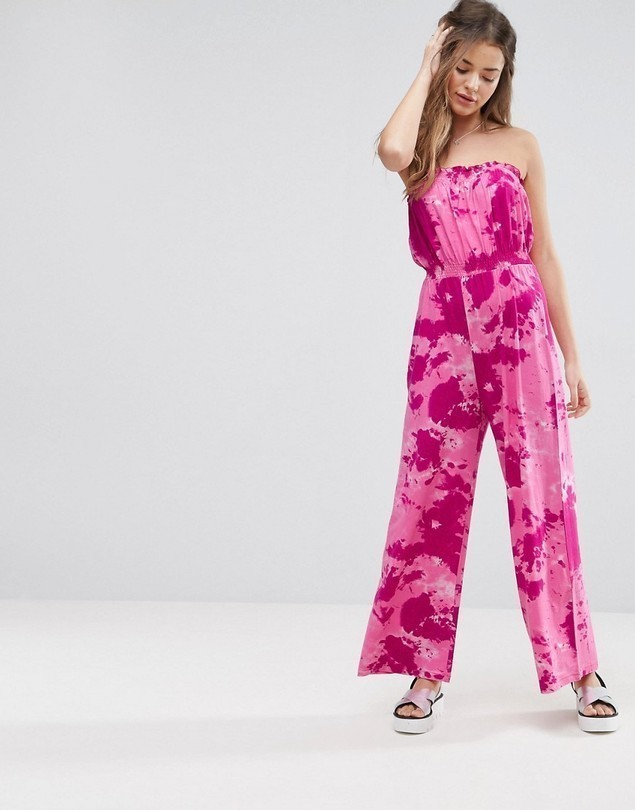 ASOS Bandeau Jersey Jumpsuit with Tie Dye Print - Pink