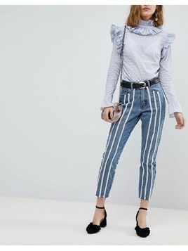 Lost Ink Raw Hem Slim Mom Jeans With Pearl Trims - Blue