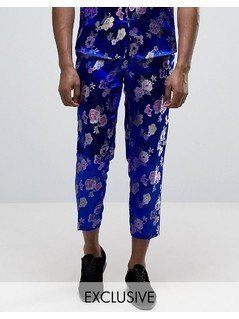 Reclaimed Vintage Brocade Trousers - Blue