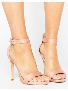 New Look Satin Heeled Sandals - Stone