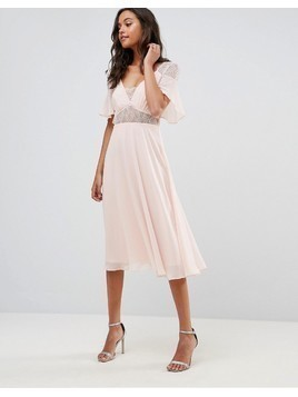 ASOS Lace Insert Flutter Sleeve Midi Dress - Pink