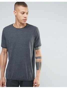 Weekday Dark Raw Edge T-Shirt - Grey