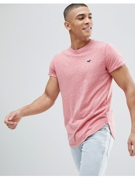 Hollister Crew T-Shirt Slim Fit Scallop Hem Icon Logo in Red - Red