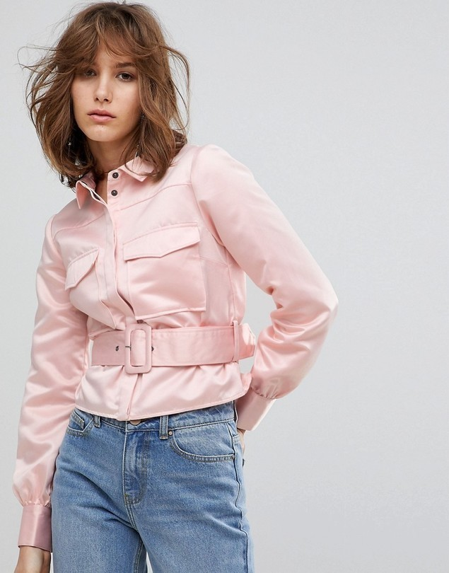 Lost Ink Western Shirt With Belt Detail In Satin - Pink