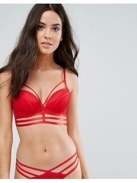 New Look Fishnet and Eyelet Triangle Bra - Red
