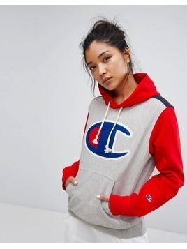Champion Hoodie With Colour Block&Front Logo - Grey
