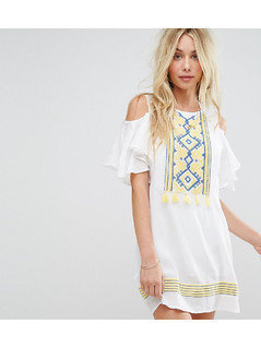 Akasa Cold Shoulder Tassel Beach Dress - White