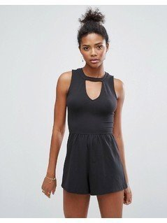 Hollister Choker Playsuit with Cutout Detail - Black