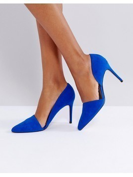 Mango Open Side Pointed Court Shoe - Blue