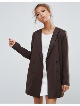 Selected Valina Wool Blend Double Breasted Blazer - Brown