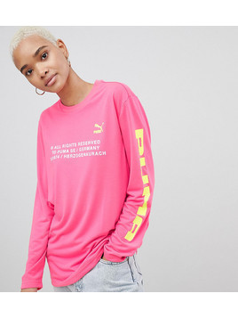Puma Exclusive To ASOS Long Sleeve T-Shirt With Techno Logo In Neon Pink - Pink