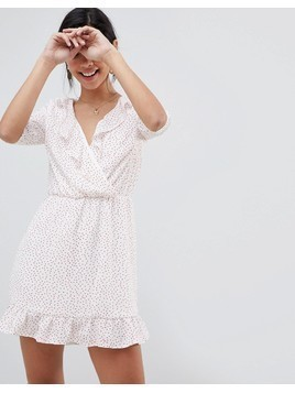 Oh My Love 3/4 Sleeve Frill Front Mini Dress - White