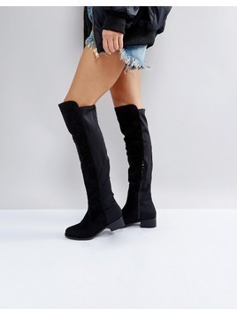 Truffle Collection Elastic Flat Over Knee Boots - Black
