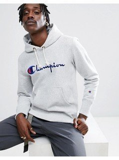 Champion Hoodie With Script Logo In Grey - Grey
